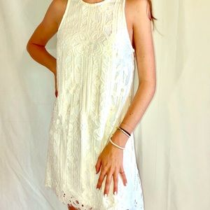 Cream color dress with Lace, XS